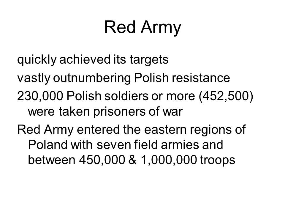 Red Army quickly achieved its targets