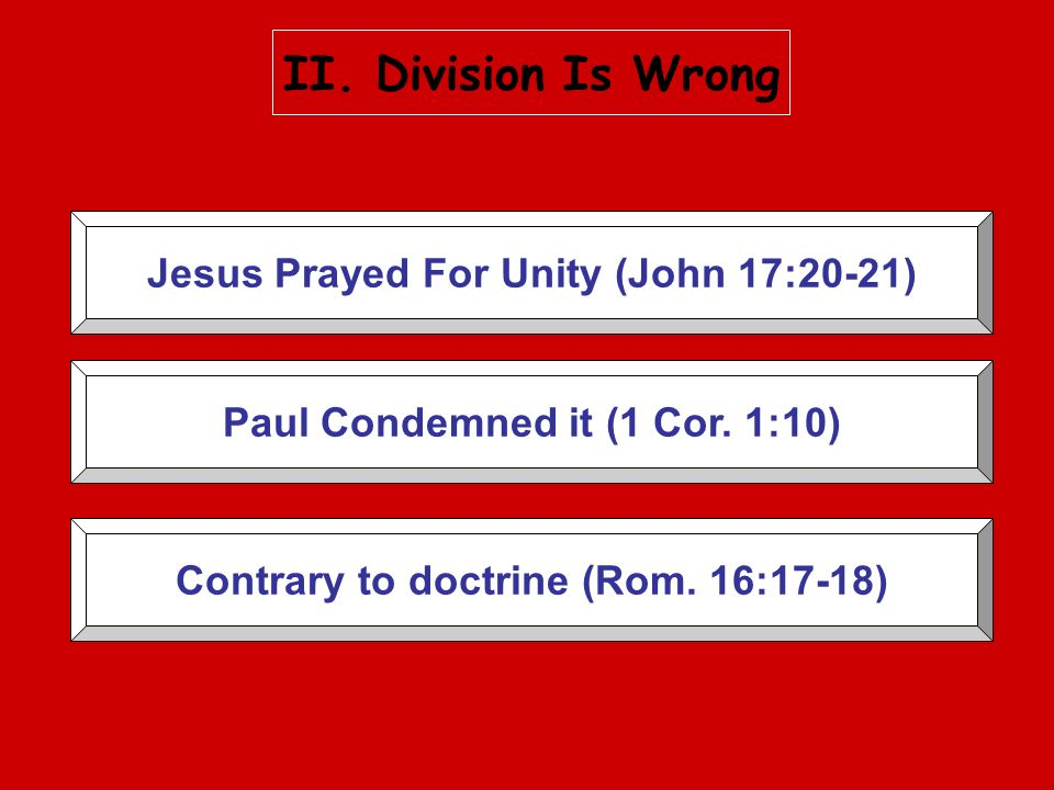 II. Division Is Wrong Jesus Prayed For Unity (John 17:20-21)