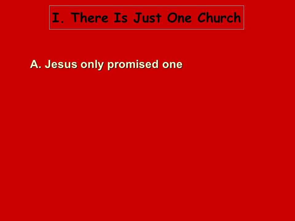 I. There Is Just One Church