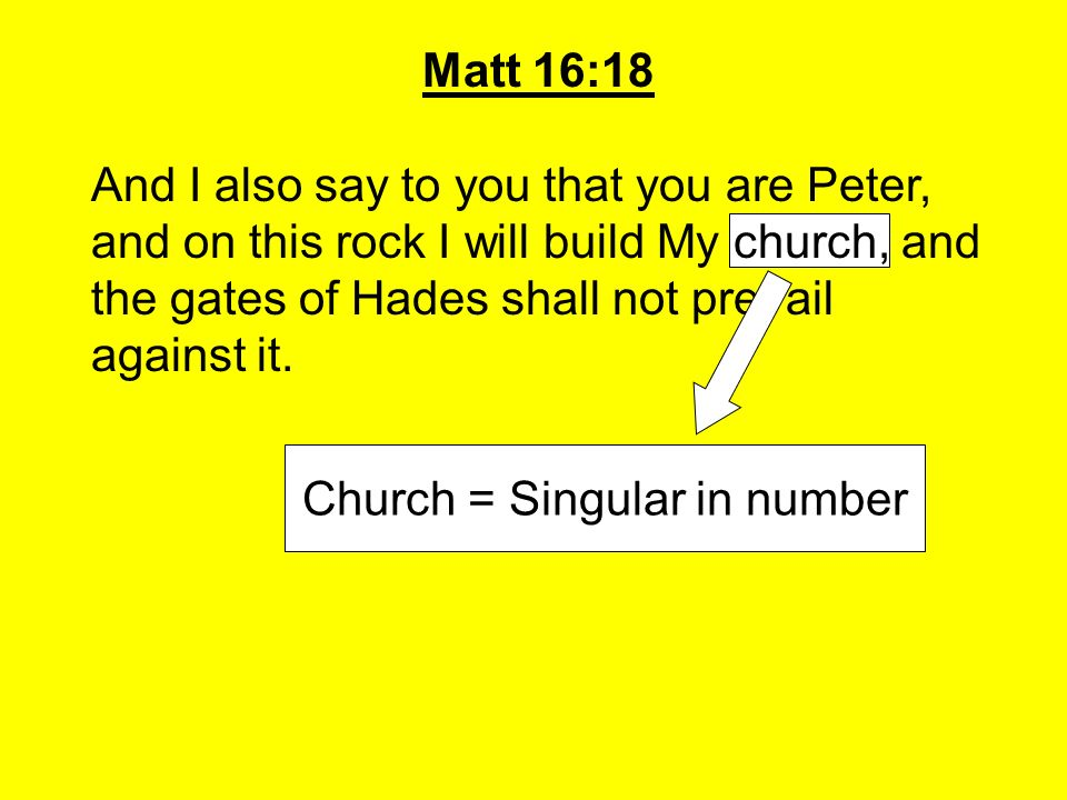 Church = Singular in number