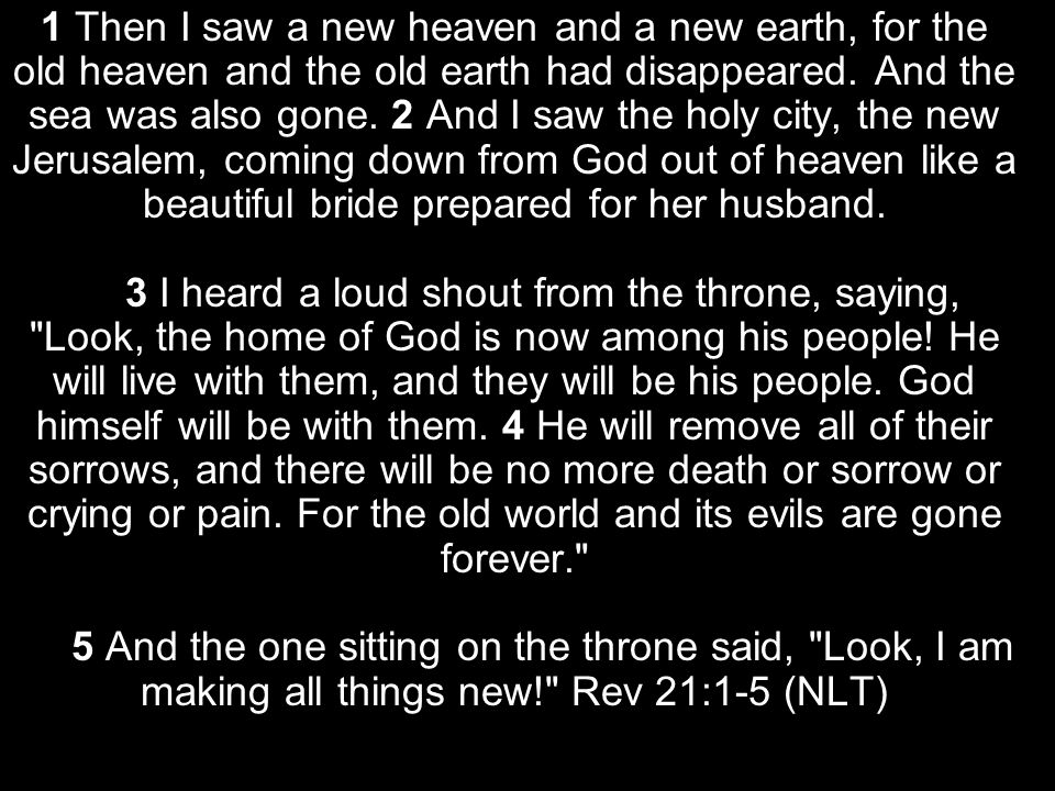 1 Then I saw a new heaven and a new earth, for the old heaven and the old earth had disappeared.