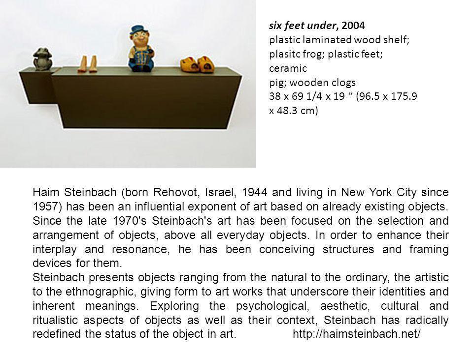 six feet under, 2004 plastic laminated wood shelf; plasitc frog; plastic feet; ceramic pig; wooden clogs 38 x 69 1/4 x 19 (96.5 x 175.9 x 48.3 cm)