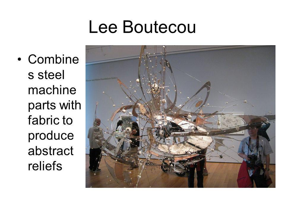 Lee Boutecou Combines steel machine parts with fabric to produce abstract reliefs