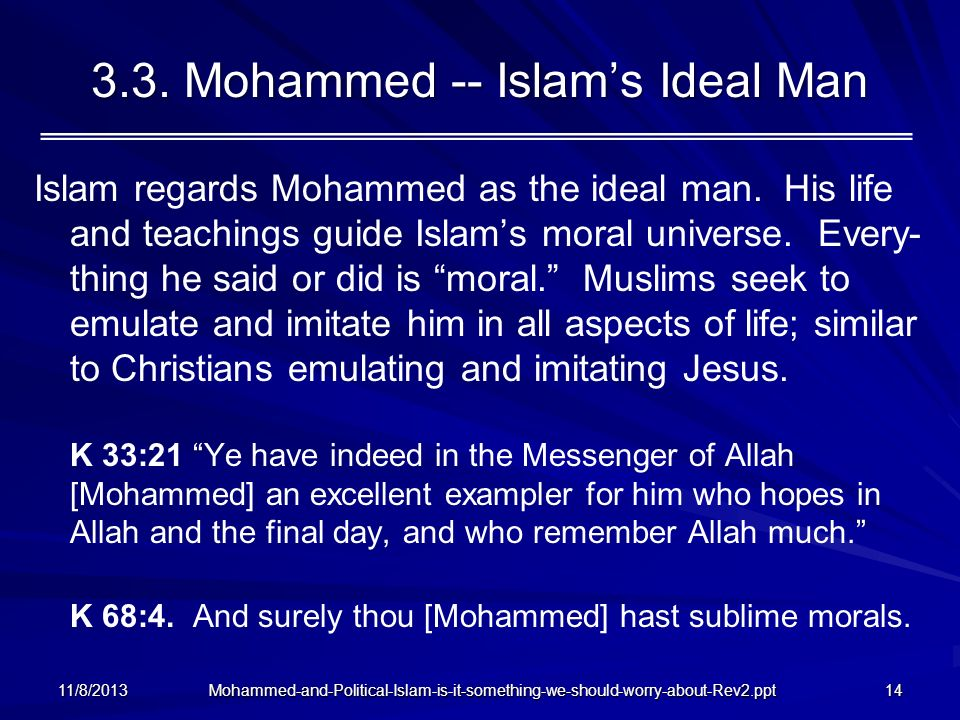 3.3. Mohammed -- Islam's Ideal Man