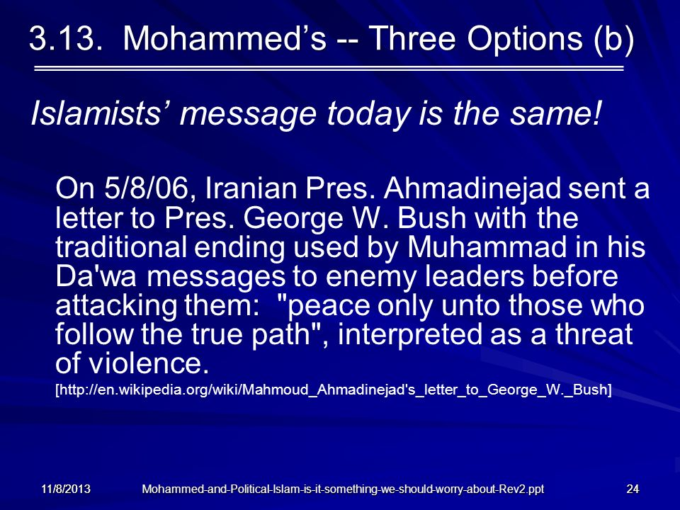 3.13. Mohammed's -- Three Options (b)