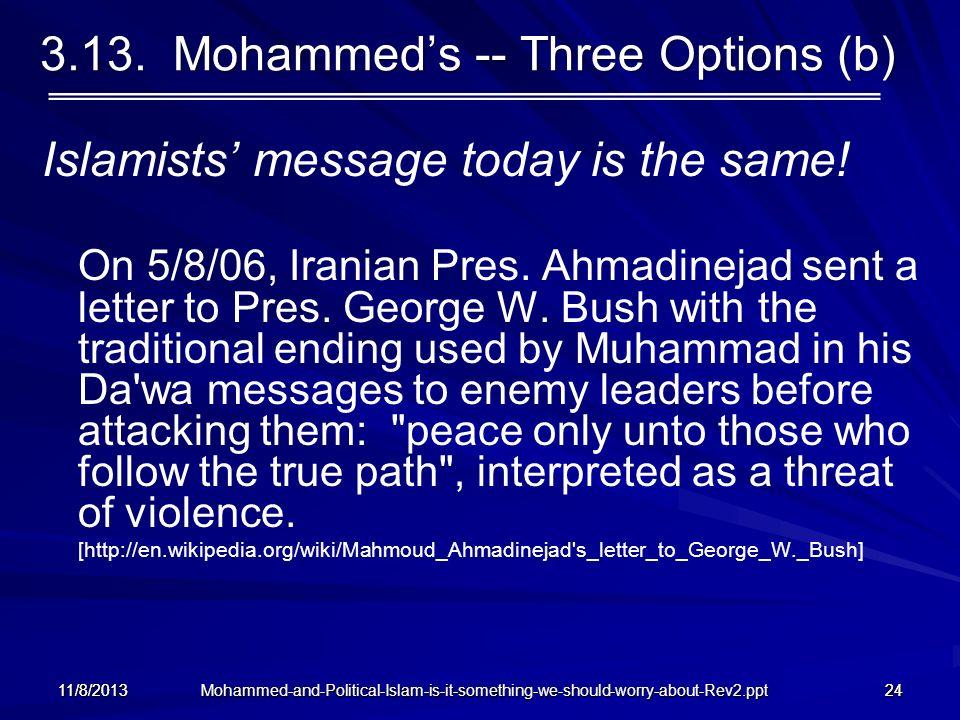 3.13. Mohammed's -- Three Options (b)