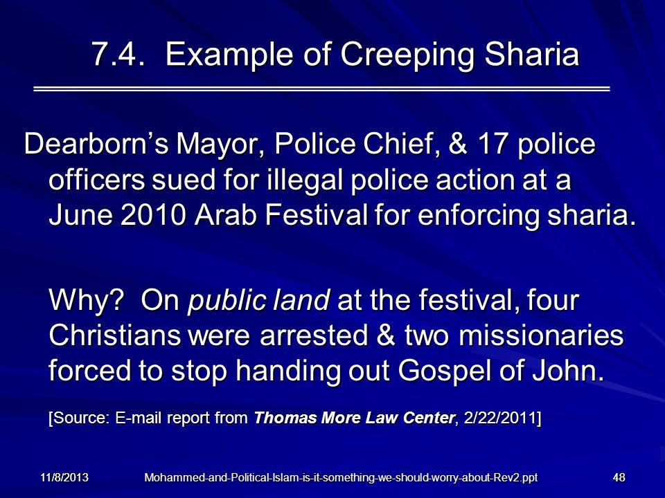 7.4. Example of Creeping Sharia