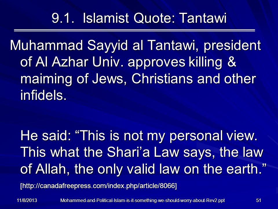9.1. Islamist Quote: Tantawi
