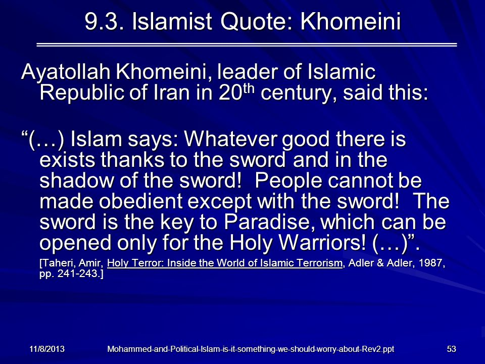 9.3. Islamist Quote: Khomeini