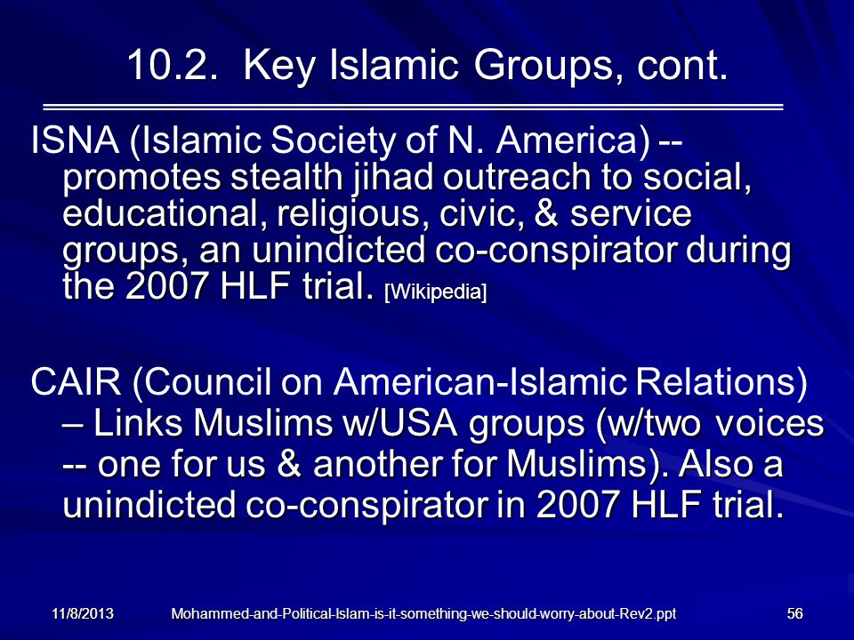 10.2. Key Islamic Groups, cont.