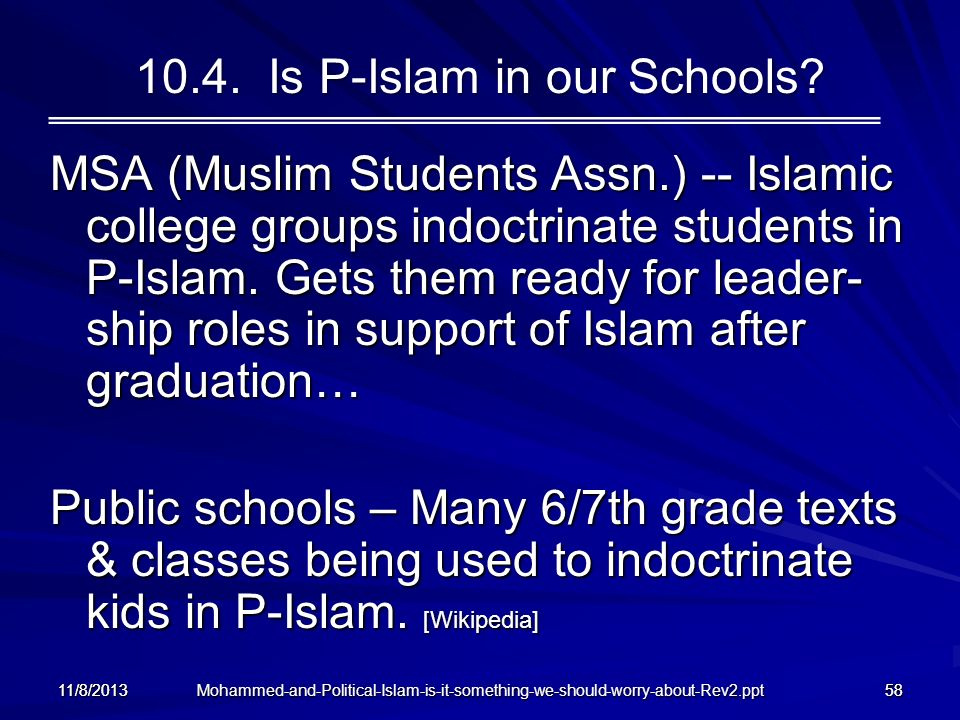 10.4. Is P-Islam in our Schools
