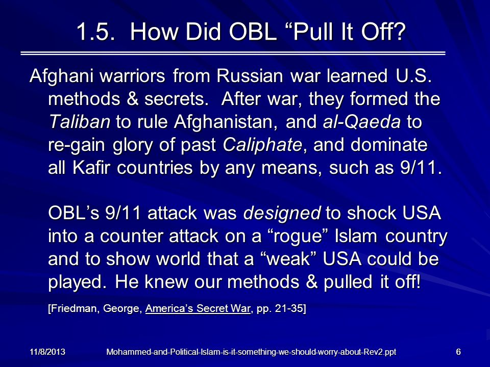 1.5. How Did OBL Pull It Off