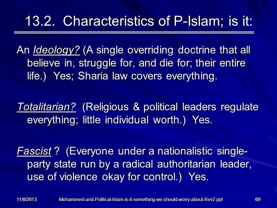 13.2. Characteristics of P-Islam; is it: