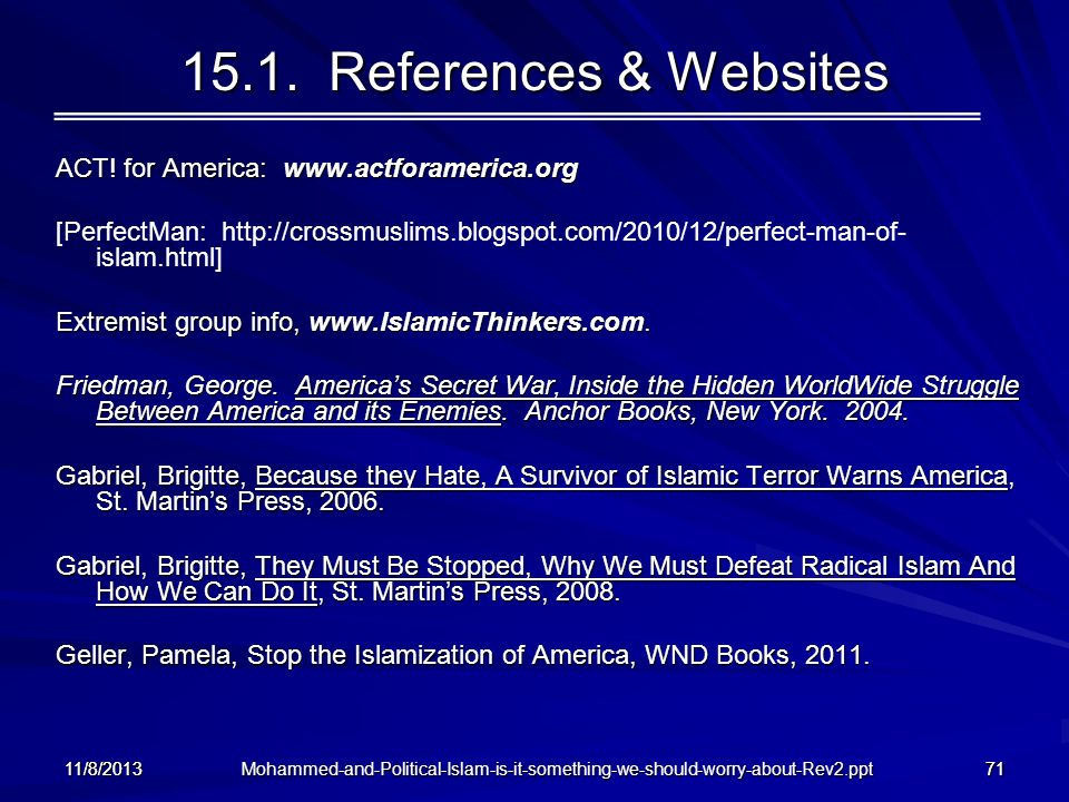 15.1. References & Websites ACT! for America: www.actforamerica.org