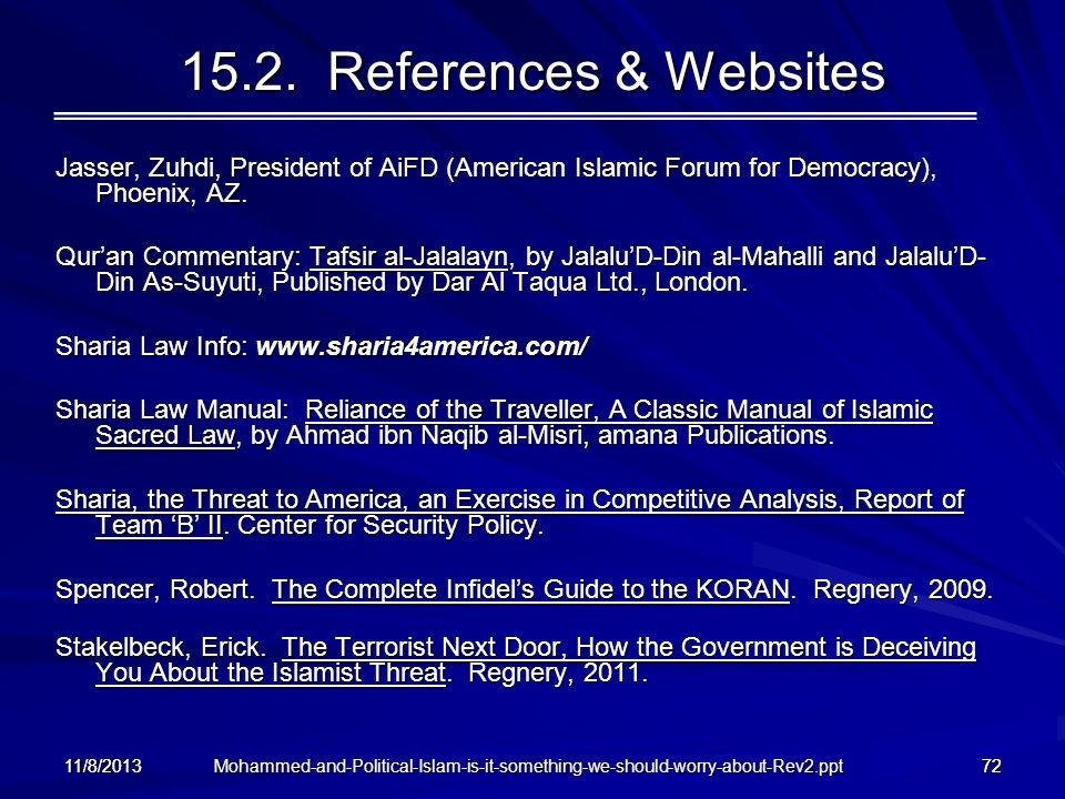15.2. References & Websites Jasser, Zuhdi, President of AiFD (American Islamic Forum for Democracy), Phoenix, AZ.