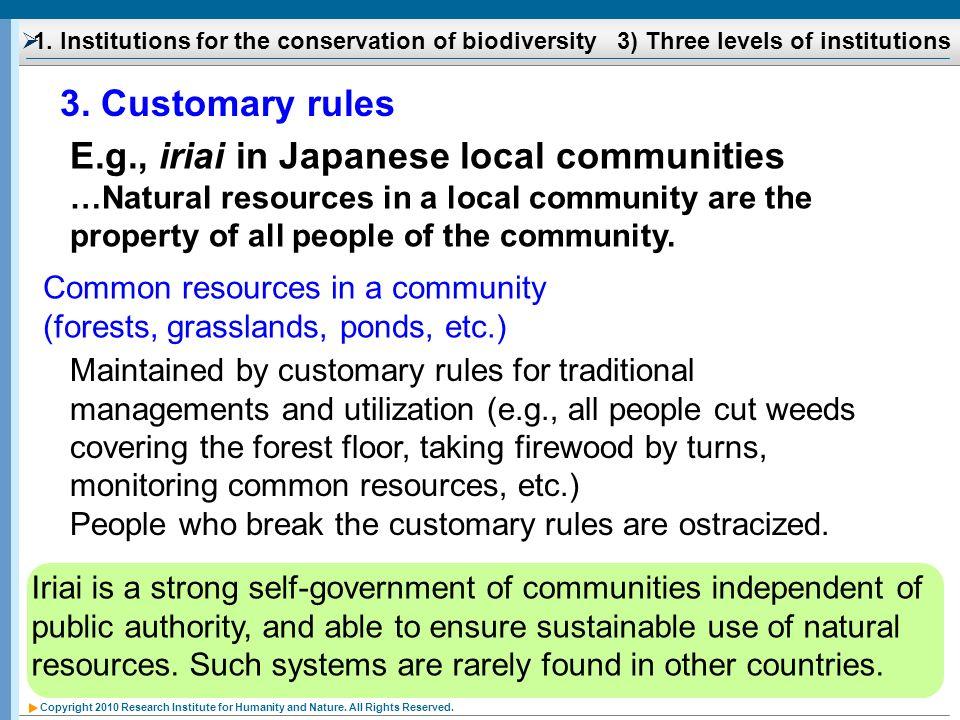 E.g., iriai in Japanese local communities