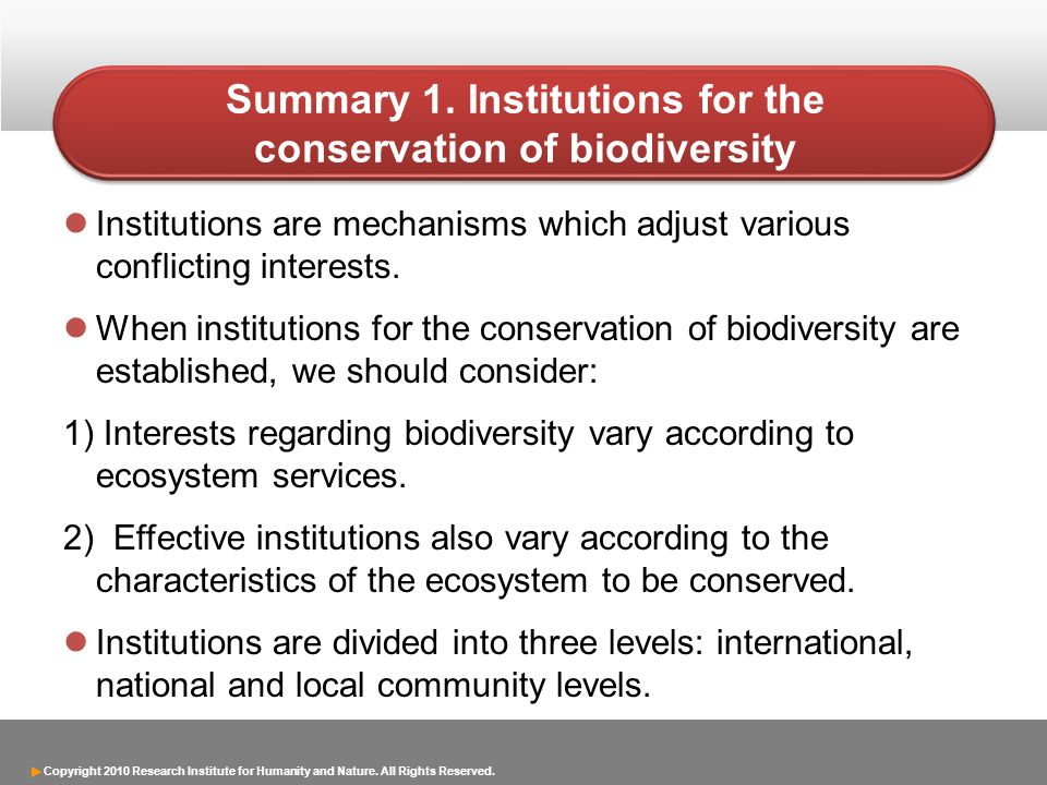 Summary 1. Institutions for the conservation of biodiversity