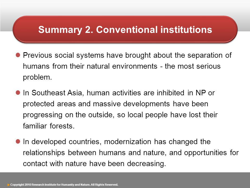 Summary 2. Conventional institutions
