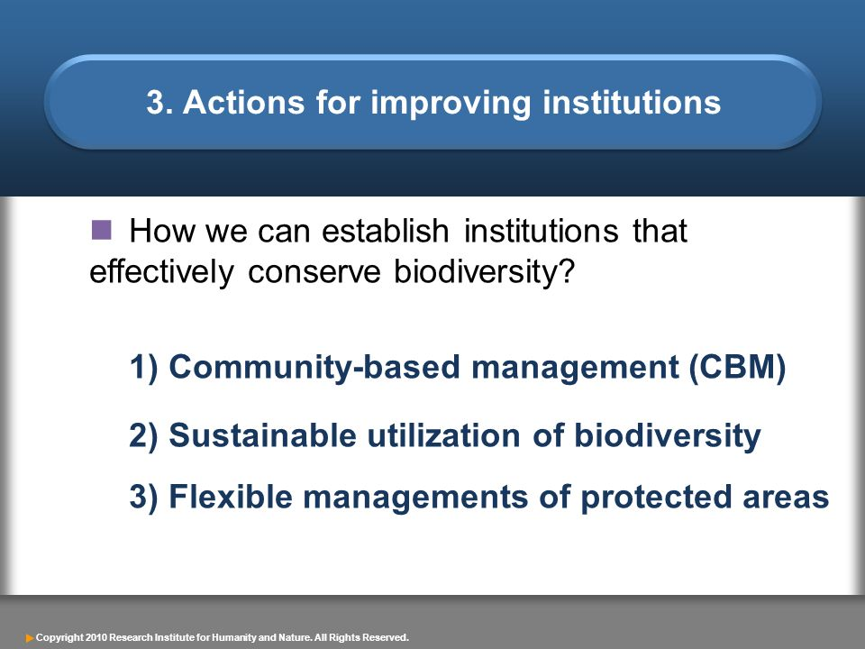 3. Actions for improving institutions
