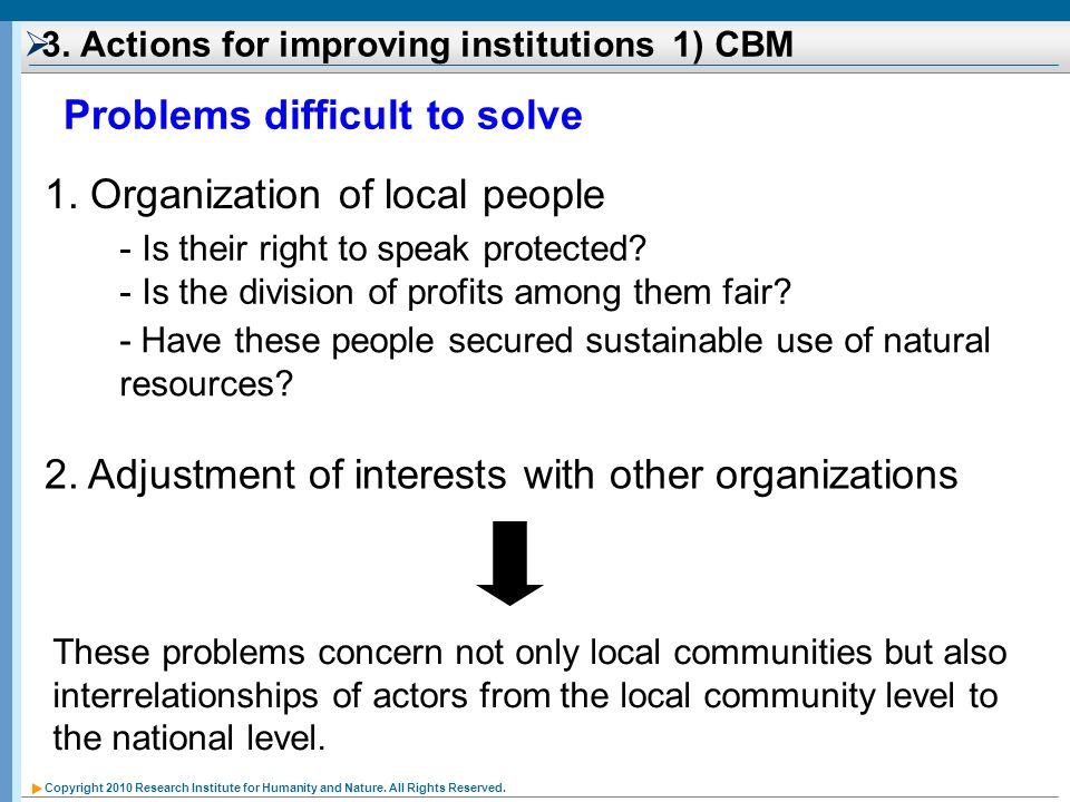 3. Actions for improving institutions 1) CBM