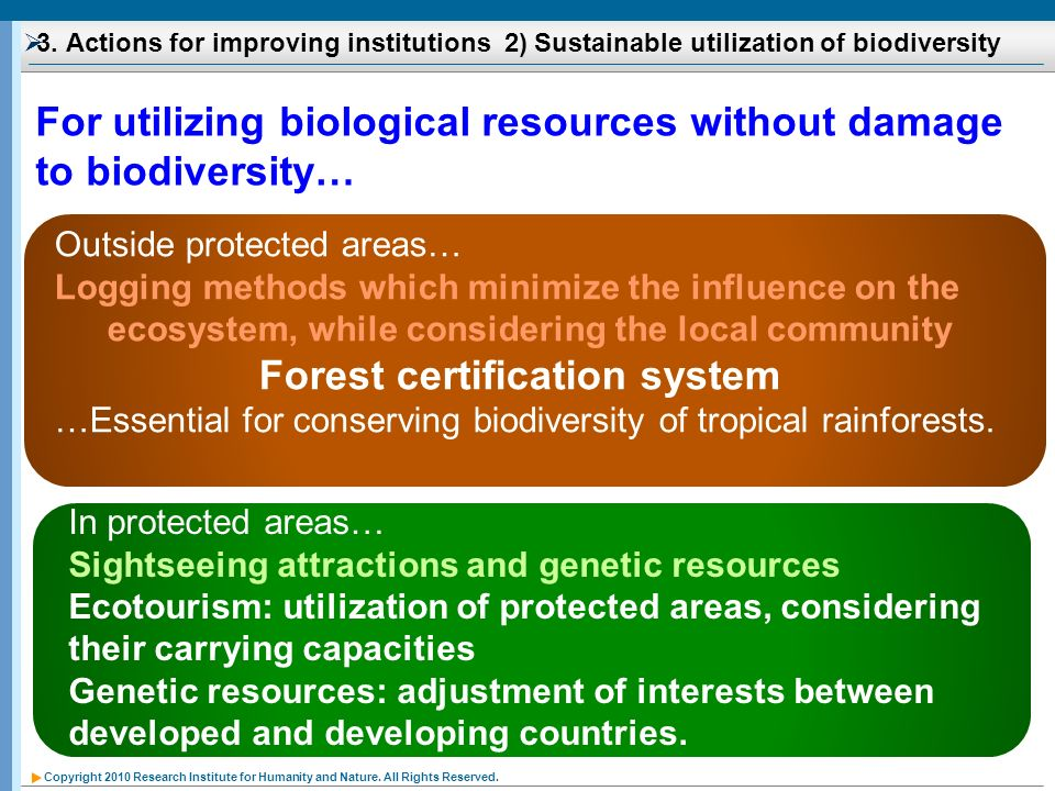 For utilizing biological resources without damage to biodiversity…