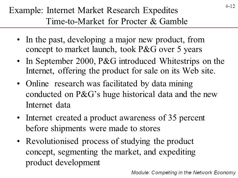 Example: Internet Market Research Expedites Time-to-Market for Procter & Gamble