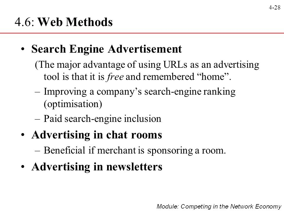 4.6: Web Methods Search Engine Advertisement Advertising in chat rooms