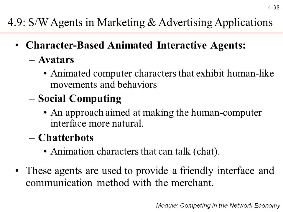4.9: S/W Agents in Marketing & Advertising Applications