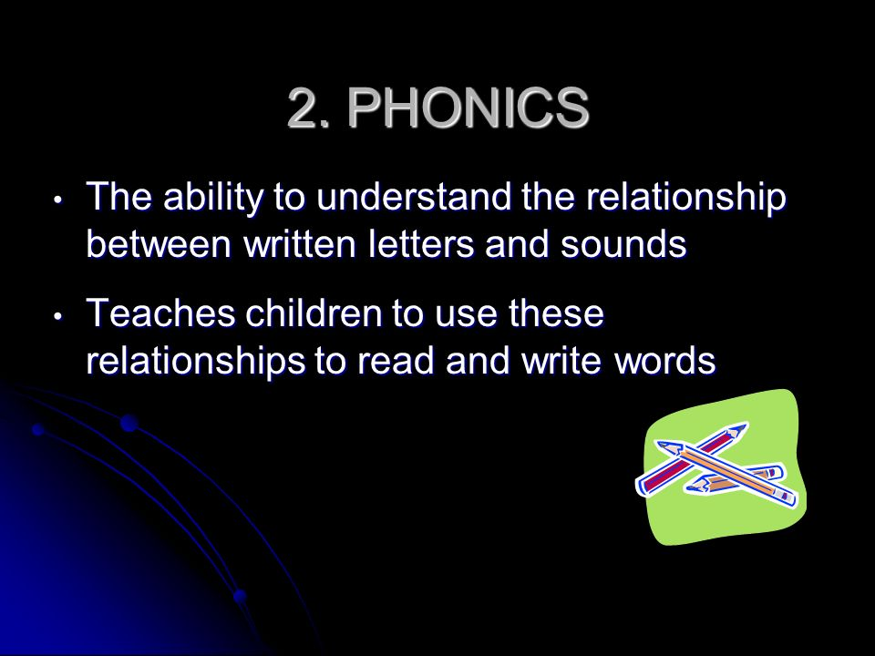 2. PHONICSThe ability to understand the relationship between written letters and sounds.