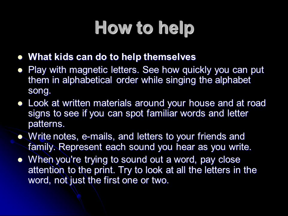 How to help What kids can do to help themselves