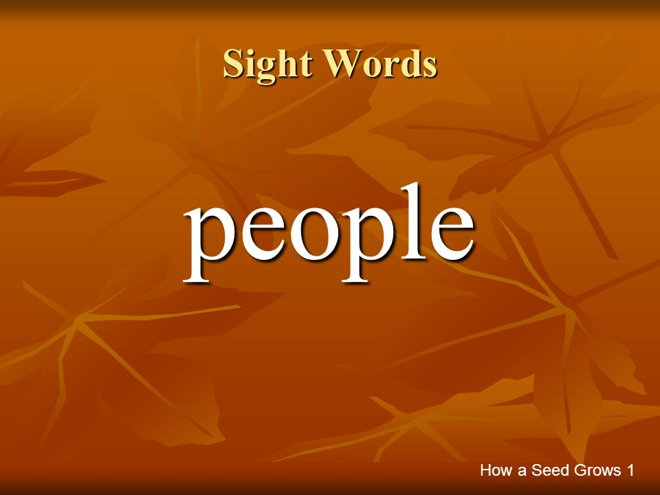 Sight Words people How a Seed Grows 1