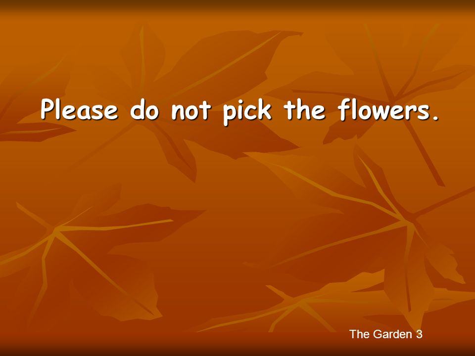 Please do not pick the flowers.