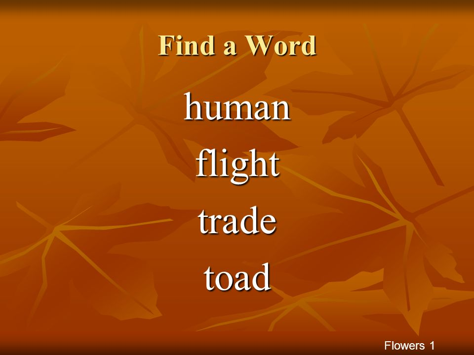 Find a Word human flight trade toad Flowers 1