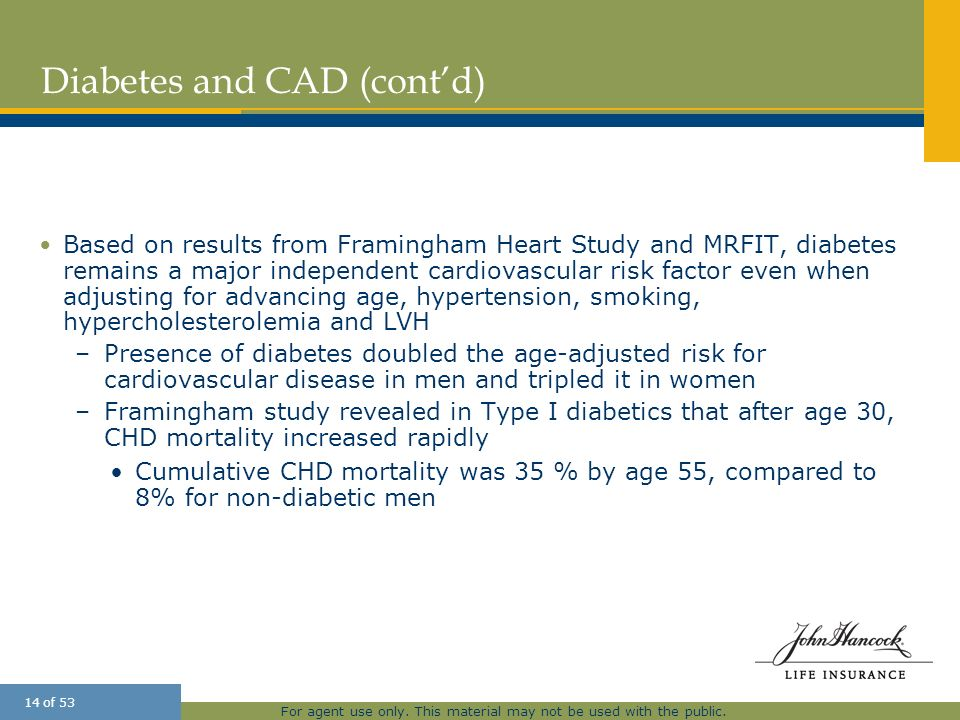 Diabetes and CAD (cont'd)