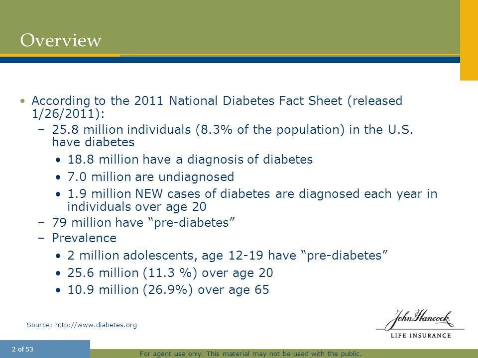 Overview 25 March According to the 2011 National Diabetes Fact Sheet (released 1/26/2011):