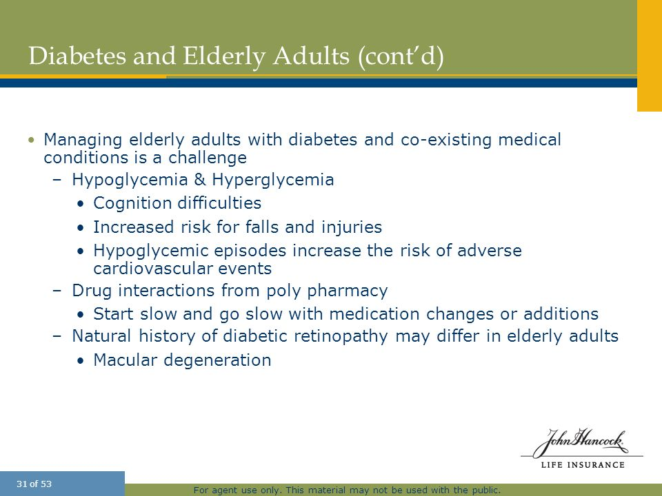 Diabetes and Elderly Adults (cont'd)