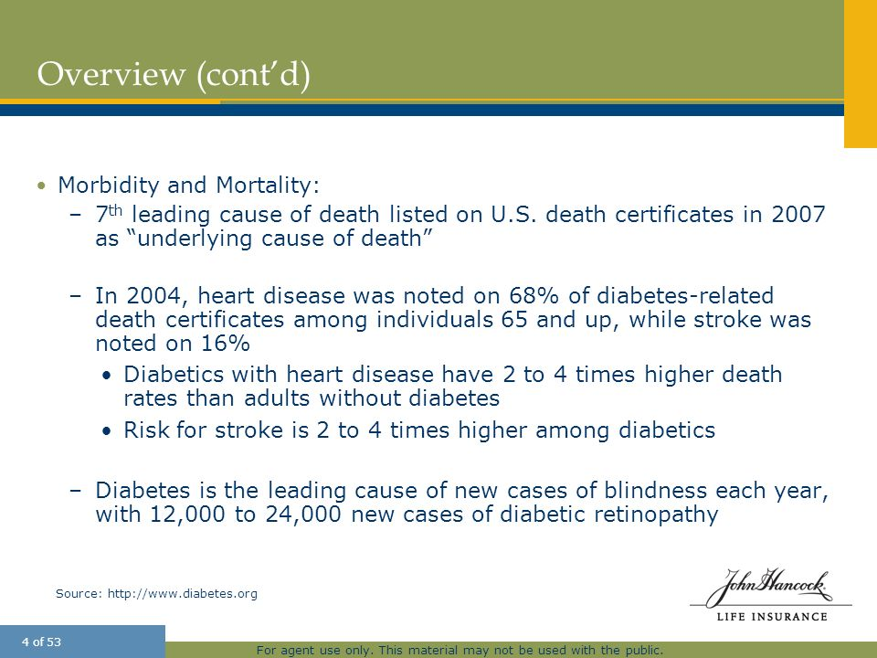 Overview (cont'd) Morbidity and Mortality: