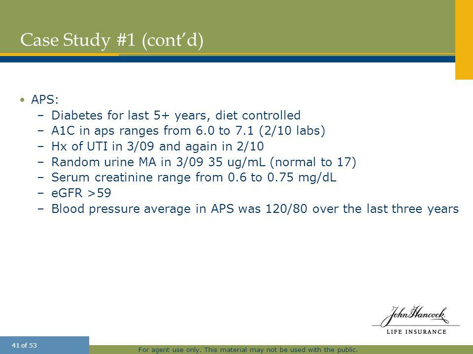 Case Study #1 (cont'd) APS:
