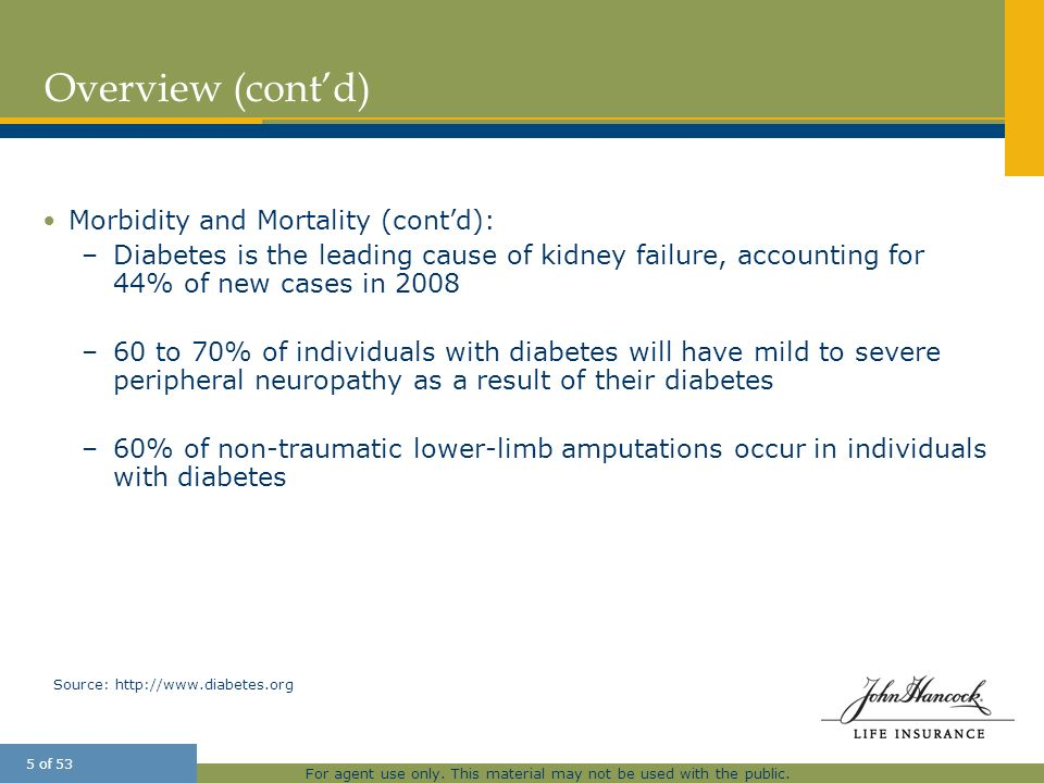 Overview (cont'd) Morbidity and Mortality (cont'd):