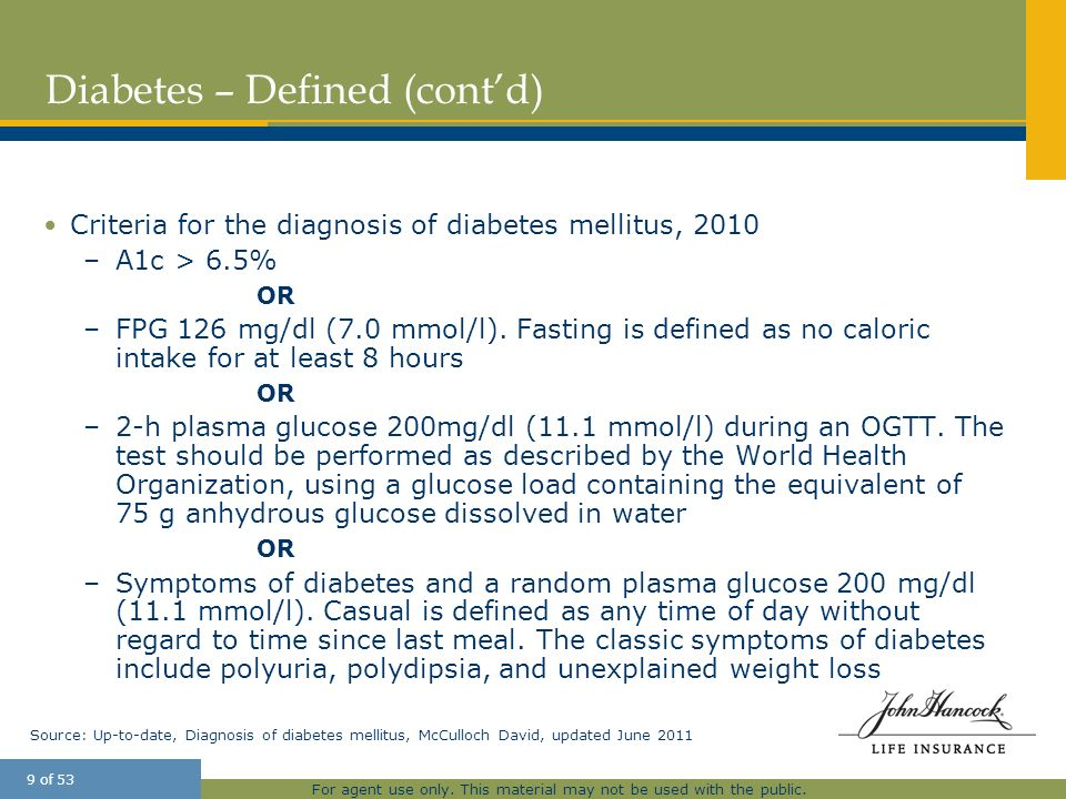Diabetes – Defined (cont'd)