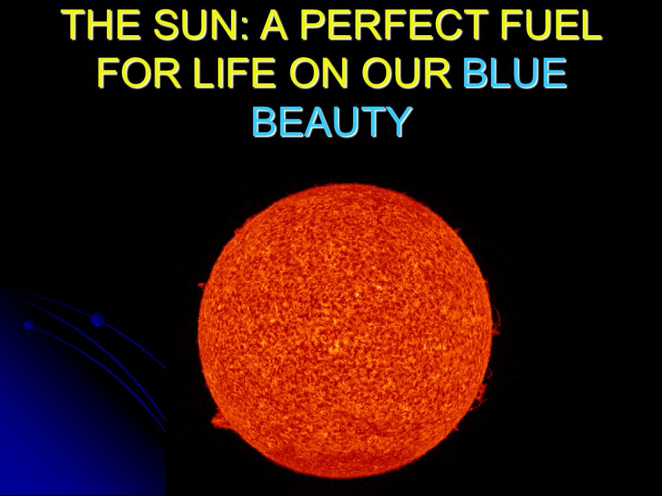 THE SUN: A PERFECT FUEL FOR LIFE ON OUR BLUE BEAUTY