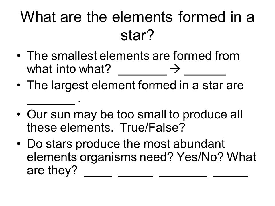 What are the elements formed in a star