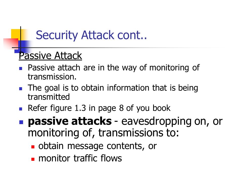 Security Attack cont.. Passive Attack. Passive attach are in the way of monitoring of transmission.