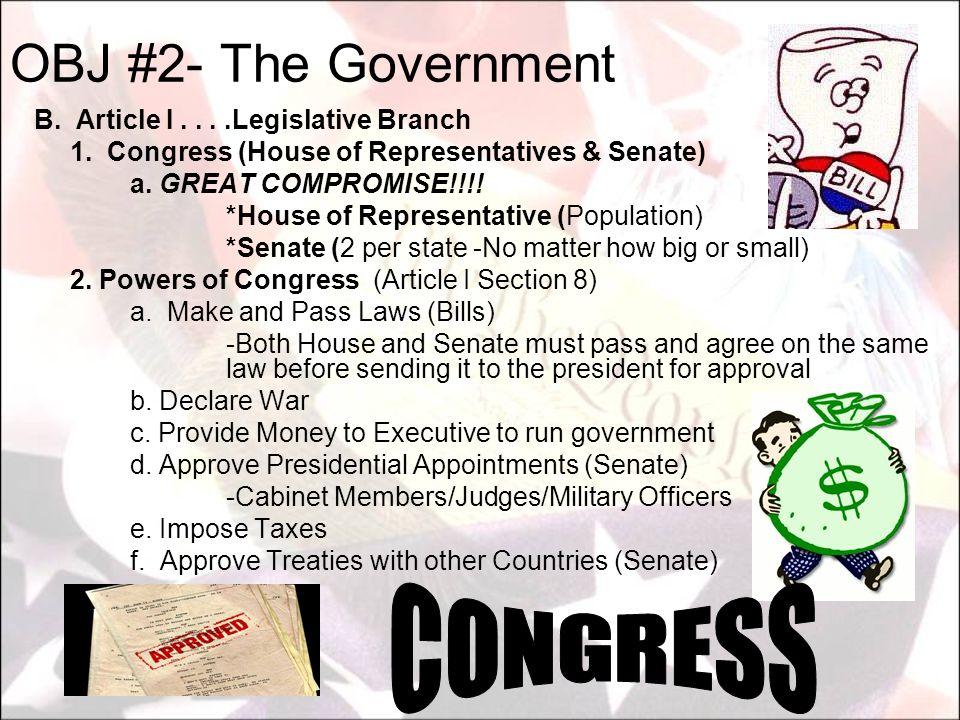 OBJ #2- The Government CONGRESS B. Article I . . . .Legislative Branch