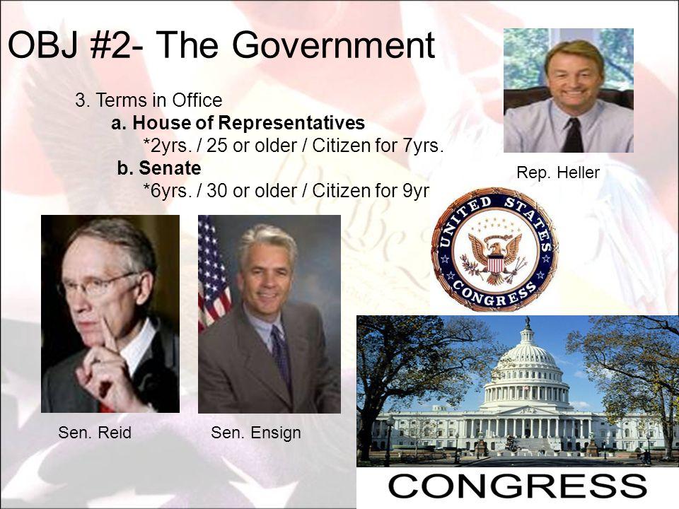 OBJ #2- The Government a. House of Representatives
