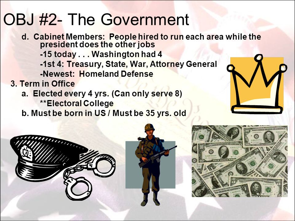 OBJ #2- The Government -15 today . . . Washington had 4