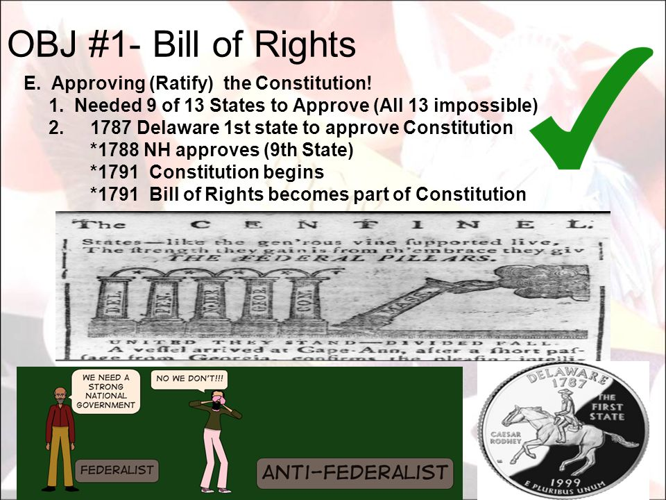 OBJ #1- Bill of Rights E. Approving (Ratify) the Constitution!