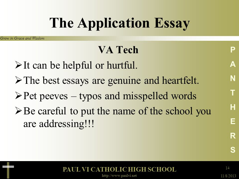 The Application Essay VA Tech It can be helpful or hurtful.