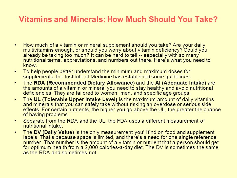 Vitamins and Minerals: How Much Should You Take