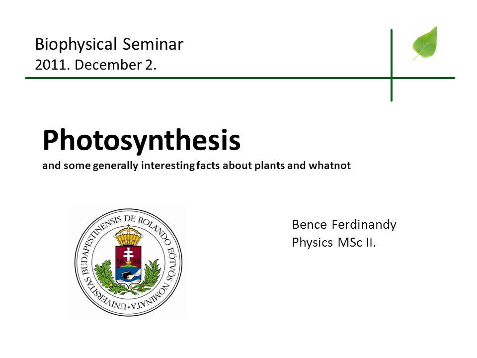 Photosynthesis Biophysical Seminar 2011. December 2. Bence Ferdinandy